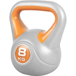 KETTELBELL EN PLASTIQUE ORANGE GRIS 8 KG