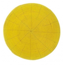SET DE TABLE ROND PERLES JAUNE - 35 cm