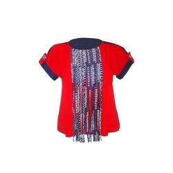 YALERRI - Blouse NIRY 14 - Taille 36 - Bleu marine- rouge