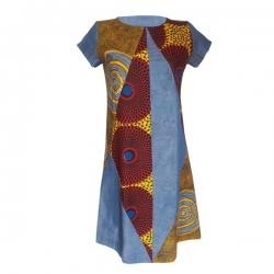 YALERRI - Robe trapèze jean et wax lika - Bleu claire - Taille 36