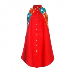 YALERRI - Robe chemise en lin et wax Keda rouge - Taille 36