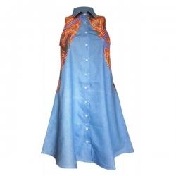 YALERRI - Robe chemise en jean et wax Keda bleu - Taille 36