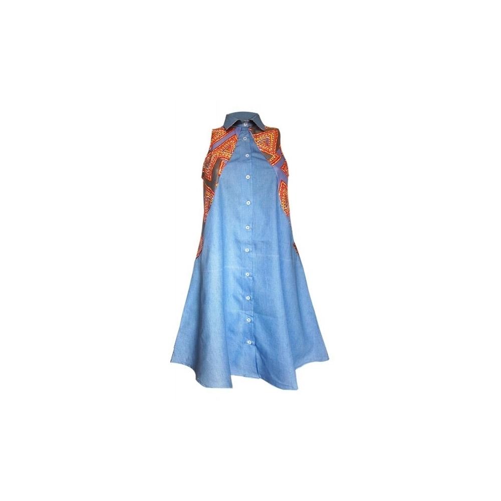 a2a6aa9f1f7 YALERRI - Robe chemise en jean et wax Keda bleu - Taille 36. Loading zoom