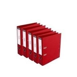 Lot De 5 Classeurs-Plastique-Avec Perforations-Standard-Dos 8 cm- Rouge