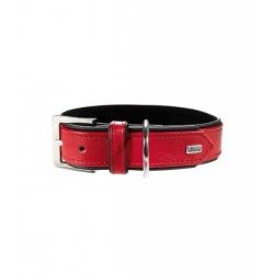 Collier HUNTER Cuir - Taille 35 - Tour de cou 24 – 30 cm - rouge/noir