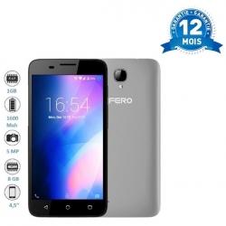 FERO A4501 - 4,5 POUCES - 1,3GHZ QUAD CORE - 8GB ROM - 1GO RAM - 1600 MAH - 5,0 MEGAPIXELS - DUAL SIM - GRIS-NOIR