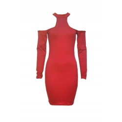 """Robe de soirée mi-longue, manches longues, couleur rouge """"Hilda"""""""