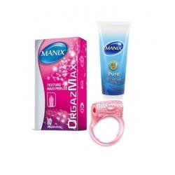 KIT Anneau vibrant + Préservatif orgazmax X10 + Lubrifiantpure gel 80 ML