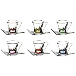 TASSE A CAFE + SOUS-TASSE FUSION SET DE 6PCS COLORES CA2 REF 73195020006