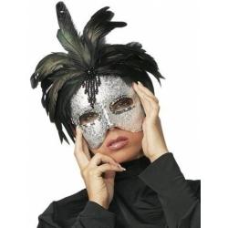 Masque argenté a plumes
