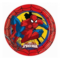 ASSIETTE JETABLE EN CARTON 23CM SET DE 8 PIECES SPIDERMAN CA25 REF 86668