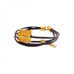 Bracelet Meli Melo en fil de coton ciré / Noir