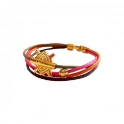 Bracelet Meli Melo en fil de coton ciré / Orange