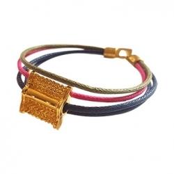 Bracelet Meli Melo en fil de coton ciré / Rose