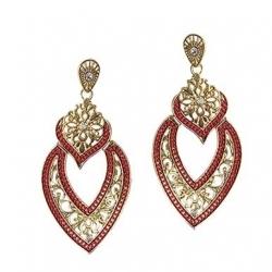 AKIJA COLLECTION - Boucle d'oreille Valentine doré rouge