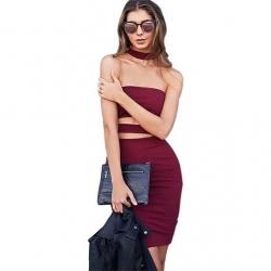 "Robe de soirée sexy moulante mi longue ""Ariana"" - Rouge"