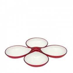 LOT DE 2 ASSIETTES COUPLEES ROUGE/BLANC