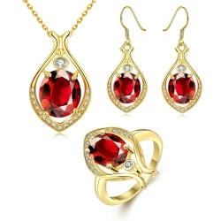 Coffret collier, boucles d'oreilles et bague assortie - plaqué or et zirconium - 18K - Coffret cadeau -