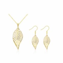 Coffret collier et boucles d'oreilles en forme de feuille - plaqué or - 18K - Coffret cadeau -