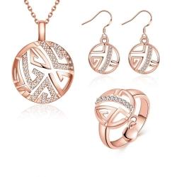 Coffret collier, boucles d'oreilles et bague symboles - plaqué or et zirconium - 18K - Coffret cadeau