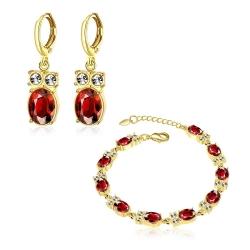 """Coffret boucles d'oreilles et bracelet collection """"beauté"""" - plaqué or et zirconium - 18K - Coffret cadeau -"""