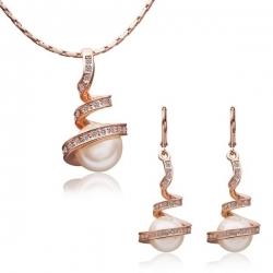 """Coffret boucles d'oreilles et collier collection """" Tsunami"""" - Plaqué or rose et zirconium - Coffret cadeau -"""