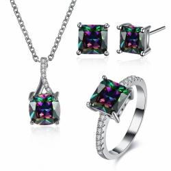"""Coffret bijoux boucles d'oreilles, collier et bague Collection """"Moon"""" - argenté et zirconium - Coffret cadeau -"""
