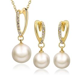 """Coffret boucles d'oreilles et collier Collection """" Perlux Or"""" - Plaqué or et zirconium - Coffret cadeau -"""