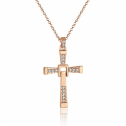 Collier avec pendentif Croix - Plaqué or 18K et diamants Zirconium - coffret cadeau