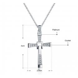 Collier avec pendentif Croix - argenté et diamants Zirconium - coffret cadeau