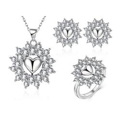 Coffret boucles d'oreilles, collier et bague étoile - argenté et zirconium - Coffret cadeau