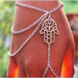 Bracelet chaine de main style argent vieilli symbole psaume - fatima