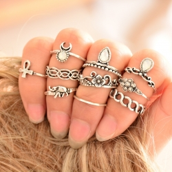 "Set de 10 bagues Fashion collection ""beauty magical"" - Silver"