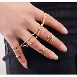 "Set de 7 bagues Fashion collection ""Arrow"" Gold"