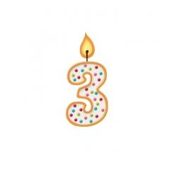 Bougie pour gâteau d'anniversaire 3 ans