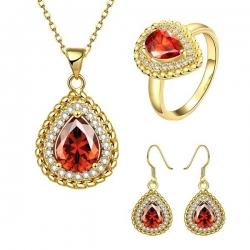 Coffret collier, boucles d'oreilles et bague Or jaune à motif Goutte d'eau et de matière Zircone cubique 18K