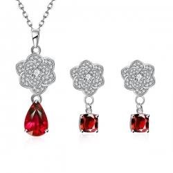 """Coffret collier et boucles d'oreilles Cuivre """"Trèfle diamanté"""" à motif Plante et de matière Zircone cubique"""