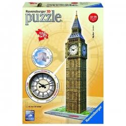 Puzzle 3D Ravensburger - 216 Pcs - Big Ben avec véritable horloge - Réf 12586