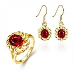 """Coffret boucles d'oreilles et bague collection """"Cristaline rouge"""" - bague taille 8"""