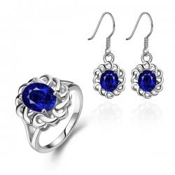 """Coffret boucles d'oreilles et bague """"Cristaline bleu"""" à motif Plante et de matière Zircone cubique"""