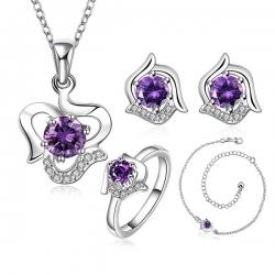 """Coffret colliers, boucles d'oreilles et bague Plaqué argent """"Reine de cristal"""" à motif Rond et de matière Cristal classique"""