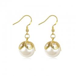 Boucles d'oreilles à perles et plaqué or- mode rétro
