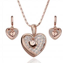 """Coffret collier et boucles d'oreilles assorties Collection """"coeur"""" - plaqué or rose 18K - Avec Coffret cadeau"""