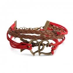Bracelet Rouge Infinity Charm - Avec Coeur