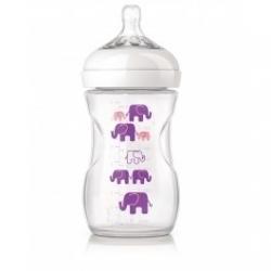 Biberon 260ml Natural Deco Elephant Violet