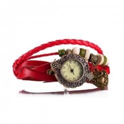 bracelet Cuir Mignon Infinity Charm rouge