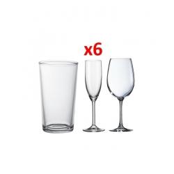 Set De 6 verres à eau, 6 coupes à vin et 6 coupes à champagne