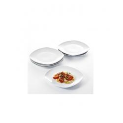 Lot de 6 Assiettes Carrées En Porcelaine - blanc
