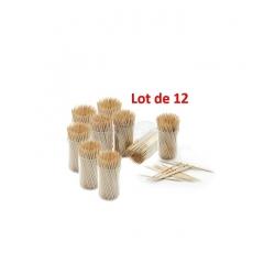 12 boites de cure-dents en bois de bambous