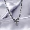 Collier avec pendentif Croix métallique- Noir